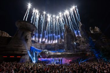 Star Wars: Galaxy's Edge at Disneyland Park in Anaheim, California, lights up with galactic fanfare during its pre-opening ceremony, May 29, 2019. Star Wars: Galaxy's Edge opens May 31, 2019, at Disneyland Resort in California and Aug. 29, 2019, at Walt Disney World Resort in Florida. Reservations and valid theme park admission are required to enter Star Wars: Galaxy's Edge at Disneyland Park between May 31 and June 23. (Joshua Sudock/Disneyland Resort)