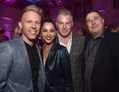 """LOS ANGELES, CA - MAY 21: (L-R) Co-lyricist Justin Paul, Naomi Scott, Music Supervisor Matt Sullivan and President of Music & Soundtracks for The Walt Disney Studios, Mitchell Leib attend the World Premiere of Disney's """"Aladdin"""" at the El Capitan Theater in Hollywood CA on May 21, 2019, in the culmination of the film's Magic Carpet World Tour with stops in Paris, London, Berlin, Tokyo, Mexico City and Amman, Jordan. (Photo by Alberto E. Rodriguez/Getty Images for Disney) *** Local Caption *** Mitchell Leib; Justin Paul; Naomi Scott; Matt Sullivan"""