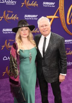"""LOS ANGELES, CA - MAY 21: Composer Alan Menken and his daughter Anna Rose attend the World Premiere of Disney's """"Aladdin"""" at the El Capitan Theater in Hollywood CA on May 21, 2019, in the culmination of the film's Magic Carpet World Tour with stops in Paris, London, Berlin, Tokyo, Mexico City and Amman, Jordan. (Photo by Jesse Grant/Getty Images for Disney) *** Local Caption *** Anna Rose; Alan Menken"""