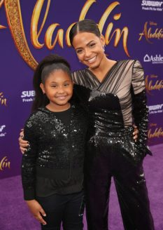 """LOS ANGELES, CA - MAY 21: Violet Madison Nash (L) and Christina Milian attend the World Premiere of Disney's """"Aladdin"""" at the El Capitan Theater in Hollywood CA on May 21, 2019, in the culmination of the film's Magic Carpet World Tour with stops in Paris, London, Berlin, Tokyo, Mexico City and Amman, Jordan. (Photo by Jesse Grant/Getty Images for Disney) *** Local Caption *** Violet Madison Nash; Christina Milian"""