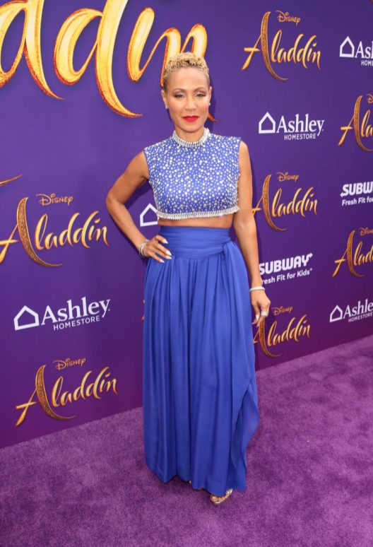 """LOS ANGELES, CA - MAY 21: Jada Pinkett Smith attends the World Premiere of Disney's """"Aladdin"""" at the El Capitan Theater in Hollywood CA on May 21, 2019, in the culmination of the film's Magic Carpet World Tour with stops in Paris, London, Berlin, Tokyo, Mexico City and Amman, Jordan. (Photo by Jesse Grant/Getty Images for Disney) *** Local Caption *** Jada Pinkett Smith"""