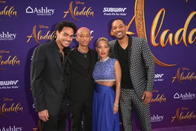 """LOS ANGELES, CA - MAY 21: (L-R) Trey Smith, Jaden Smith, Jada Pinkett Smith and Will Smith attend the World Premiere of Disney's """"Aladdin"""" at the El Capitan Theater in Hollywood CA on May 21, 2019, in the culmination of the film's Magic Carpet World Tour with stops in Paris, London, Berlin, Tokyo, Mexico City and Amman, Jordan. (Photo by Jesse Grant/Getty Images for Disney) *** Local Caption *** Trey Smith; Will Smith; Jaden Smith; Jada Pinkett Smith"""