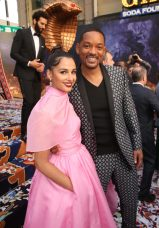 """LOS ANGELES, CA - MAY 21: Naomi Scott (L) and Will Smith attend the World Premiere of Disney's """"Aladdin"""" at the El Capitan Theater in Hollywood CA on May 21, 2019, in the culmination of the film's Magic Carpet World Tour with stops in Paris, London, Berlin, Tokyo, Mexico City and Amman, Jordan. (Photo by Jesse Grant/Getty Images for Disney) *** Local Caption *** Naomi Scott; Will Smith"""