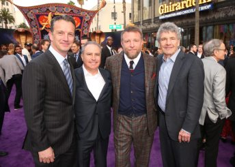 """LOS ANGELES, CA - MAY 21: (L-R) President of Walt Disney Studios Motion Picture Production, Sean Bailey, Walt Disney Studios President, Alan Bergman, Director Guy Ritchie and Chairman, The Walt Disney Studios, Alan Horn attend the World Premiere of Disney's """"Aladdin"""" at the El Capitan Theater in Hollywood CA on May 21, 2019, in the culmination of the film's Magic Carpet World Tour with stops in Paris, London, Berlin, Tokyo, Mexico City and Amman, Jordan. (Photo by Jesse Grant/Getty Images for Disney) *** Local Caption *** Sean Bailey; Alan Bergman; Guy Ritchie; Alan Horn"""