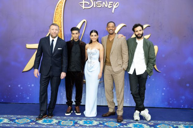 (L-R) Guy Ritchie, Mena Massoud, Naomi Scott, Will Smith and Marwan Kenzari attend the European Gala Screening of DisneyÕs ÒAladdinÓ on May 9th at LondonÕs ODEON Luxe in Leicester Square, London UK.