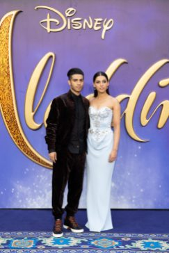 Mena Massoud (L) and Naomi Scott attend the European Gala Screening of DisneyÕs ÒAladdinÓ on May 9th at LondonÕs ODEON Luxe in Leicester Square, London UK.