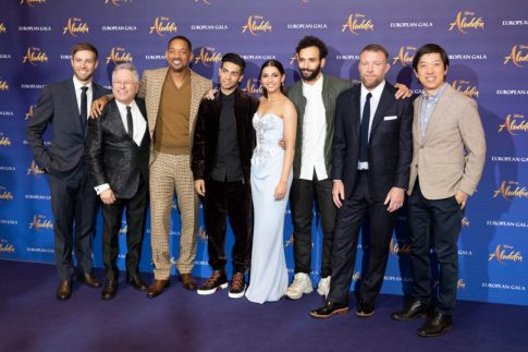 (L-R) Jonathan Eirich, Alan Menken, Will Smith, Mena Massoud, Naomi Scott, Marwan Kenzari, Guy Ritchie and Daniel Lin attend the European Gala Screening of DisneyÕs ÒAladdinÓ on May 9th at LondonÕs ODEON Luxe in Leicester Square, London UK.