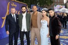 (L-R) Guy Ritchie; Marwan Kenzari, Will Smith, Naomi Scott and Mena Massoud attend the European Gala Screening of DisneyÕs ÒAladdinÓ on May 9th at LondonÕs ODEON Luxe in Leicester Square, London UK.