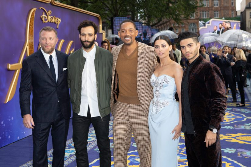 (L-R) Guy Ritchie; Marwan Kenzari, Will Smith, Naomi Scott and Mena Massoud attend the European Gala Screening of DisneyÕs ÒAladdinÓ on May 9th at LondonÕs ODEON Luxe in Leicester Square, London UK.