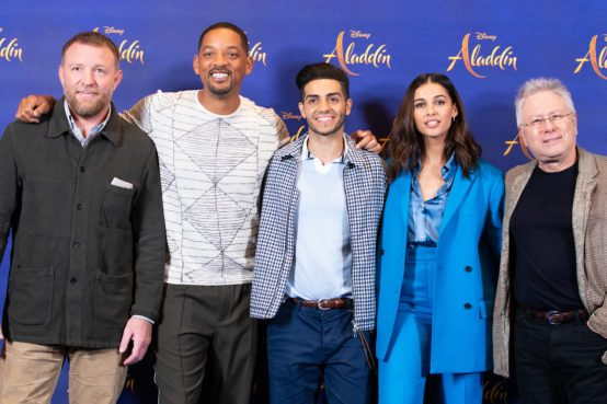 """Guy Ritchie, Will Smith, Mena Massoud, Naomi Scott and Alan Menken attend the photo call to celebrate the release of Disney's """"Aladdin"""" on May 10th in London, UK"""