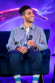 "Mena Massoud attends the press conference to celebrate the release of Disney's ""Aladdin"" on May 10th in London, UK"