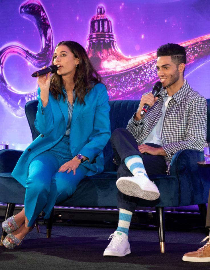 "Naomi Scott and Mena Massoud attend the press conference to celebrate the release of Disney's ""Aladdin"" on May 10th in London, UK"