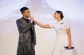 "PARIS, FRANCE – May 08: Mena Massoud & Naomi Scoot attends the ""Aladdin"" Paris Gala Screening at Cinema Le Grand Rex on May 08, 2019 in Paris, France."