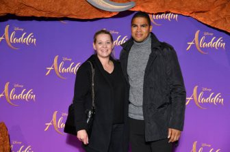 """PARIS, FRANCE - MAY 08: Daniel Narcisse (R) and a guest attend the """"Aladdin"""" gala screening at Le Grand Rex on May 08, 2019 in Paris, France. (Photo by Pascal Le Segretain/Getty Images For Disney)"""