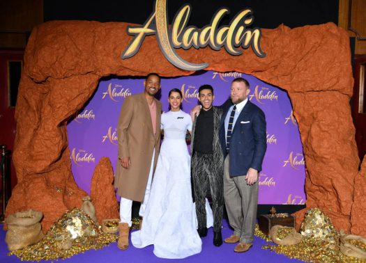"""PARIS, FRANCE - MAY 08: (L-R) Will Smith, Naomi Scott, wearing a Off-White by Virgil Abloh dress, Mena Massoud and Guy Ritchie attend the """"Aladdin"""" gala screening at Le Grand Rex on May 08, 2019 in Paris, France. (Photo by Pascal Le Segretain/Getty Images For Disney)"""