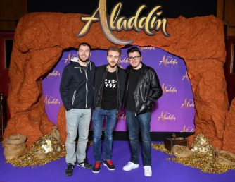 """PARIS, FRANCE - MAY 08: (L-R) Newtiteuf, Sora and Siphano attend the """"Aladdin"""" gala screening at Le Grand Rex on May 08, 2019 in Paris, France. (Photo by Pascal Le Segretain/Getty Images For Disney)"""