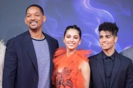"""(L-R) Will Smith, Mena Massoud, Naomi Scott attend the """"Aladdin"""" gala screening on May 11, 2019 in Berlin, Germany. .© Disney/Folioscope/Silke Reents"""