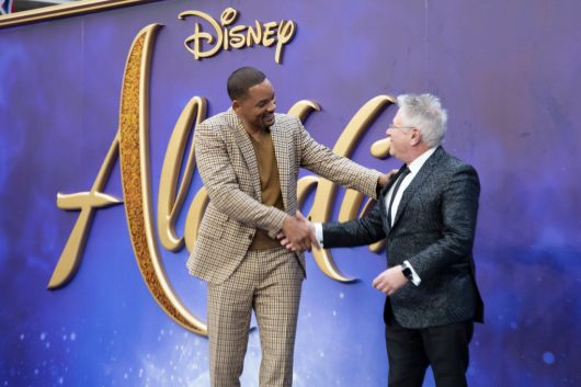 Will Smith (L) and Alan Menken attend the European Gala Screening of DisneyÕs ÒAladdinÓ on May 9th at LondonÕs ODEON Luxe in Leicester Square, London UK.