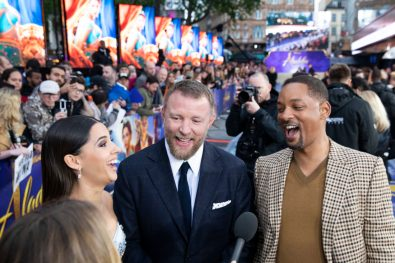 (L-R) Naomi Scott, Guy Ritchie and Will Smith attend the European Gala Screening of DisneyÕs ÒAladdinÓ on May 9th at LondonÕs ODEON Luxe in Leicester Square, London UK.