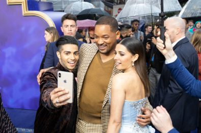(L-R) Mena Massoud, Will Smith and Naomi Scott attends the European Gala Screening of DisneyÕs ÒAladdinÓ on May 9th at LondonÕs ODEON Luxe in Leicester Square, London UK.