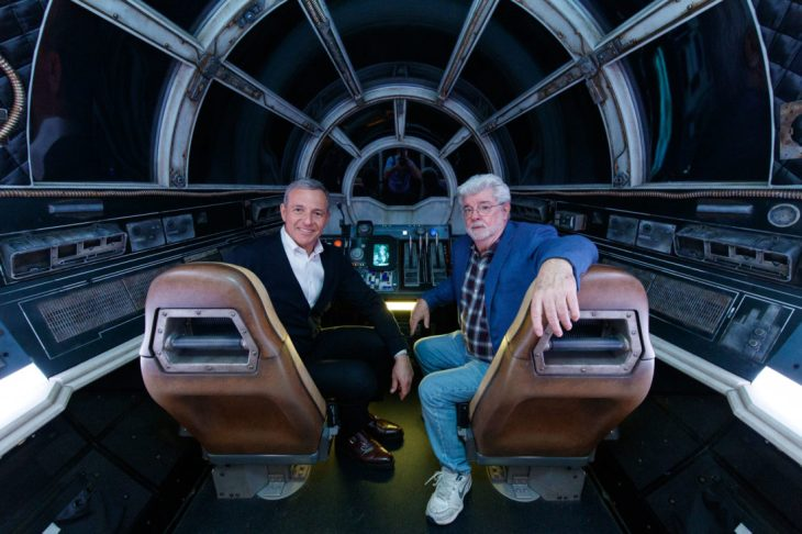 Bob Iger and George Lucas Tour Star Wars: Galaxy's Edge at Disneyland Park Ahead of Opening Bob Iger, Walt Disney Company Chairman and CEO (left), and George Lucas, Star Wars creator, pose inside Millennium Falcon: Smugglers Run at Star Wars: Galaxy's Edge at Disneyland Park in Anaheim, California, May 29, 2019. Star Wars: Galaxy's Edge opens May 31, 2019, at Disneyland Resort in California and Aug. 29, 2019, at Walt Disney World Resort in Florida.