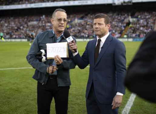 Tom Hanks and Dermot O'Leary at Stamford Bridge, Soccer Aid 2019..Credit Tom Dymond for UNICEF/SAP.