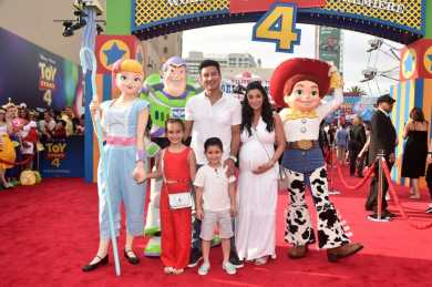 HOLLYWOOD, CA - JUNE 11: (L-R) Gia Francesca Lopez, Dominic Lopez, Mario Lopez, and Courtney Laine Mazza attend the world premiere of Disney and Pixar's TOY STORY 4 at the El Capitan Theatre in Hollywood, CA on Tuesday, June 11, 2019. (Photo by Alberto E. Rodriguez/Getty Images for Disney) *** Local Caption *** Courtney Laine Mazza; Gia Francesca Lopez; Mario Lopez; Dominic Lopez