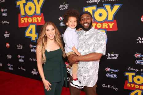 """HOLLYWOOD, CA - JUNE 11: (L-R) Allison Holker, Maddox Laurel Boss, and Stephen Laurel """"tWitch"""" Boss attend the world premiere of Disney and Pixar's TOY STORY 4 at the El Capitan Theatre in Hollywood, CA on Tuesday, June 11, 2019. (Photo by Jesse Grant/Getty Images for Disney) *** Local Caption *** Stephen Laurel """"tWitch"""" Boss; Allison Holker; Maddox Laurel Boss"""