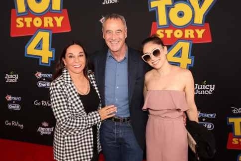 HOLLYWOOD, CA - JUNE 11: (L-R) Gail Morris, President of Pixar Animation Studios Jim Morris and guest attend the world premiere of Disney and Pixar's TOY STORY 4 at the El Capitan Theatre in Hollywood, CA on Tuesday, June 11, 2019. (Photo by Jesse Grant/Getty Images for Disney) *** Local Caption *** Gail Morris; Jim Morris