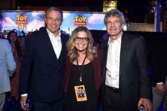 HOLLYWOOD, CA - JUNE 11: (L-R) The Walt Disney Company Chairman and CEO Bob Iger, Chief creative officer of Walt Disney Animation Studios Jennifer Lee, and Walt Disney Studios Chairman Alan F. Horn attend the world premiere of Disney and Pixar's TOY STORY 4 at the El Capitan Theatre in Hollywood, CA on Tuesday, June 11, 2019. (Photo by Alberto E. Rodriguez/Getty Images for Disney) *** Local Caption *** Alan F. Horn; Jennifer Lee; Bob Iger