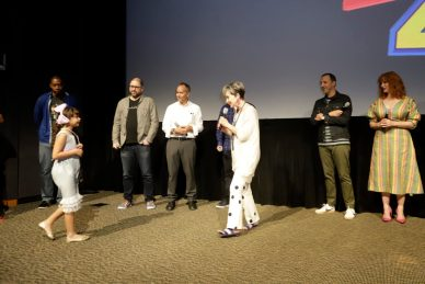 ORLANDO, FLORIDA - JUNE 08: (L-R) Mark Daniel, Josh Cooley, Jonas Rivera, Annie Potts, Mark Nielsen, Tony Hale and Christina Hendricks surprise fans at an early screening of Pixar's TOY STORY 4 at Disney's Hollywood Studios on June 08, 2019 in Orlando, Florida. (Photo by John Parra/Getty Images for Disney)