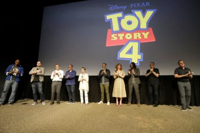 ORLANDO, FLORIDA - JUNE 08: (L-R) Mark Daniel, Josh Cooley, Jonas Rivera, Mark Nielsen, Annie Potts, Tony Hale, Christina Hendricks, Keanu Reeves, Tom Hanks and Tim Allen surprise fans at an early screening of Pixar's TOY STORY 4 at Disney's Hollywood Studios on June 08, 2019 in Orlando, Florida. (Photo by John Parra/Getty Images for Disney)