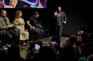 ORLANDO, FLORIDA - JUNE 08: (L-R) Josh Cooley, Christina Hendricks, Tim Allen and Keanu Reeves attend the Global Press Junket for Pixar's TOY STORY 4 at Disney's Hollywood Studios on June 08, 2019 in Orlando, Florida. (Photo by John Parra/Getty Images for Disney)