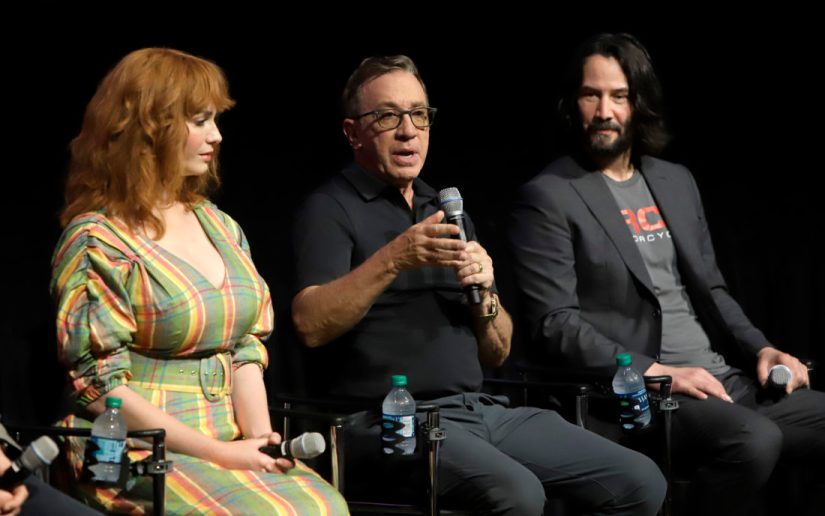 ORLANDO, FLORIDA - JUNE 08: Christina Hendricks, Tim Allen and Keanu Reeves attend the Global Press Junket for Pixar's TOY STORY 4 at Disney's Hollywood Studios on June 08, 2019 in Orlando, Florida. (Photo by John Parra/Getty Images for Disney)