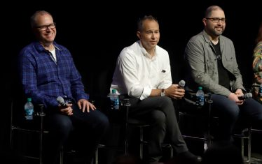 ORLANDO, FLORIDA - JUNE 08: Mark Nielsen, Josh Cooley and Jonas Rivera attend the Global Press Junket for Pixar's TOY STORY 4 at Disney's Hollywood Studios on June 08, 2019 in Orlando, Florida. (Photo by John Parra/Getty Images for Disney)