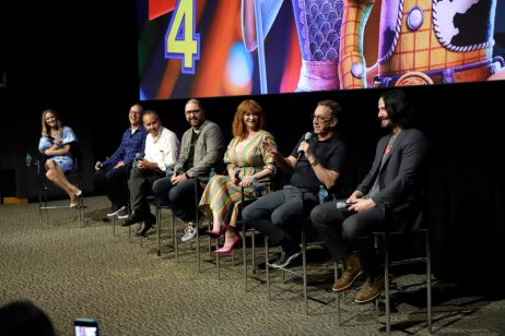 ORLANDO, FLORIDA - JUNE 08: (L-R) Brooke Anderson, Mark Nielsen, Jonas Rivera, Josh Cooley, Christina Hendricks, Tim Allen and Keanu Reeves attend the Global Press Junket for Pixar's TOY STORY 4 at Disney's Hollywood Studios on June 08, 2019 in Orlando, Florida. (Photo by John Parra/Getty Images for Disney)