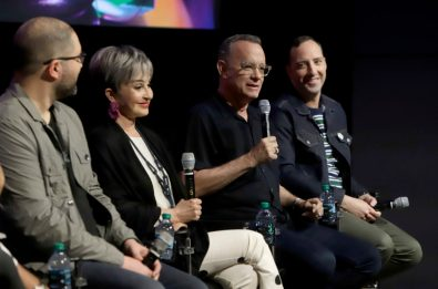 ORLANDO, FLORIDA - JUNE 08: (L-R) Josh Cooley, Annie Potts, Tom Hanks and Tony Hale attend the Global Press Junket for Pixar's TOY STORY 4 at Disney's Hollywood Studios on June 08, 2019 in Orlando, Florida. (Photo by John Parra/Getty Images for Disney)