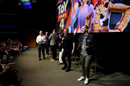 ORLANDO, FLORIDA - JUNE 08: (L-R) Jonas Rivera, Mark Nielsen, Josh Cooley, Annie Potts, Tom Hanks and Tony Hale attend the Global Press Junket for Pixar's TOY STORY 4 at Disney's Hollywood Studios on June 08, 2019 in Orlando, Florida. (Photo by John Parra/Getty Images for Disney)
