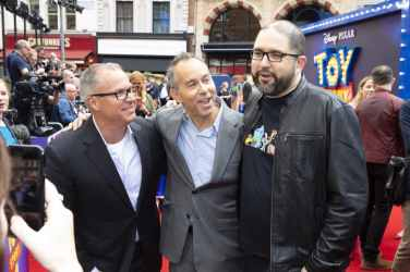 (L-R) Mark Nielsen, Jonas Rivera and Josh Cooley attend the European Premiere for Disney and PixarÕs ÒToy Story 4Ó in at Odeon Leicester Square on 16 June 2019 in London, UK