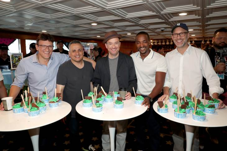 SAN DIEGO, CALIFORNIA - JULY 20: Anthony Russo, Joe Russo, Christopher Markus, Anthony Mackie and Stephen McFeely attend the #IMDboat at San Diego Comic-Con 2019: Day Three at the IMDb Yacht on July 20, 2019 in San Diego, California. (Photo by Rich Polk/Getty Images for IMDb)