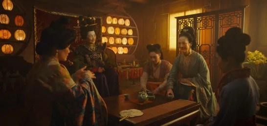 Disney's MULAN..L to R: Groom's mother, Matchmaker (Pei-Pei Cheng), Xiu (Xana Tang), Wuwei (Rosalind Chao) and Mulan (Yifei Liu)..Photo: Film Frame..© 2019 Disney Enterprises, Inc. All Rights Reserved.