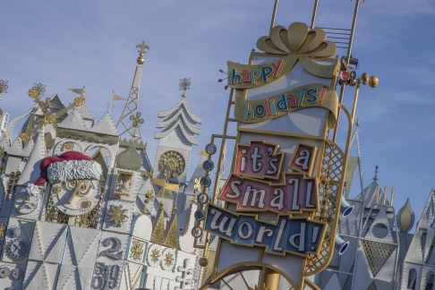 "The Disneyland Resort transforms into the Merriest Place on Earth for the holiday season, Nov. 8, 2019, through Jan. 6, 2020. Among the merriment at Disneyland Park, ""it's a small world"" is transformed each evening into ""it's a small world"" Holiday, with 50,000-plus colorful lights, music and video projections. Inside, dolls and toys representing children from around the world enjoy the distinctive holiday traditions of their countries. (Joshua Sudock/Disneyland Resort)"