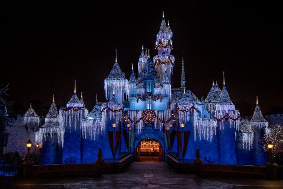 The Disneyland Resort transforms into the Merriest Place on Earth for the holiday season, Nov. 8, 2019, through Jan. 6, 2020. Among the merriment at Disneyland Park, Sleeping Beauty's Winter Castle shines brightly with the glow of the shimmering icicles and twinkling lights, enchanting guests from day to night. (Joshua Sudock/Disneyland Resort)