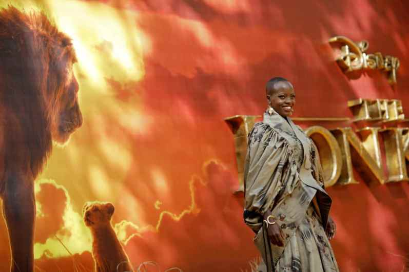 """Florence Kasumba attends the European Premiere of Disney's """"The Lion King"""" at the Odeon Leicester Square on 14th July 2019 in London, UK"""