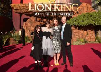 "HOLLYWOOD, CALIFORNIA - JULY 09: (L-R) Mary Jo Deschanel, Zooey Deschanel, Emily Deschanel, and Director of Photography Caleb Deschanel attend the World Premiere of Disney's ""THE LION KING"" at the Dolby Theatre on July 09, 2019 in Hollywood, California. (Photo by Alberto E. Rodriguez/Getty Images for Disney)"