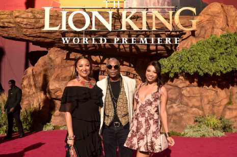 "HOLLYWOOD, CALIFORNIA - JULY 09: (L-R) Stephanie Cozart Burton, LeVar Burton, and Michaela Jean Burton attend the World Premiere of Disney's ""THE LION KING"" at the Dolby Theatre on July 09, 2019 in Hollywood, California. (Photo by Alberto E. Rodriguez/Getty Images for Disney)"