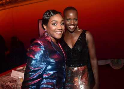 "HOLLYWOOD, CALIFORNIA - JULY 09: Tiffany Haddish (L) and Florence Kasumba attend the World Premiere of Disney's ""THE LION KING"" at the Dolby Theatre on July 09, 2019 in Hollywood, California. (Photo by Alberto E. Rodriguez/Getty Images for Disney)"
