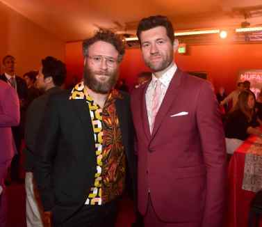 """HOLLYWOOD, CALIFORNIA - JULY 09: Seth Rogen (L) and Billy Eichner attend the World Premiere of Disney's """"THE LION KING"""" at the Dolby Theatre on July 09, 2019 in Hollywood, California. (Photo by Alberto E. Rodriguez/Getty Images for Disney)"""