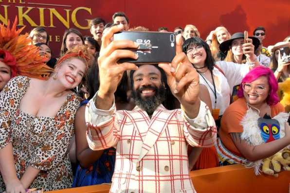 "HOLLYWOOD, CALIFORNIA - JULY 09: Donald Glover attends the World Premiere of Disney's ""THE LION KING"" at the Dolby Theatre on July 09, 2019 in Hollywood, California. (Photo by Charley Gallay/Getty Images for Disney)"