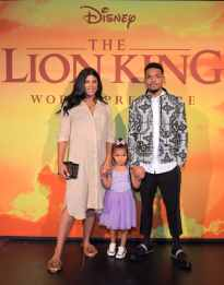 "HOLLYWOOD, CALIFORNIA - JULY 09: (L-R) Kirsten Corley, Kensli Bennett, and Chance The Rapper attend the World Premiere of Disney's ""THE LION KING"" at the Dolby Theatre on July 09, 2019 in Hollywood, California. (Photo by Charley Gallay/Getty Images for Disney)"